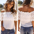 Women Elegant Plus Size Lace Crop Top Chiffon Off Shoulder Femme Bralette for Summer Sarafan Cropped Feminino White Strapless