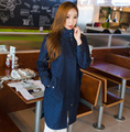 New Fashion 2015 Women Jeans Trench Coat Lady Denim Trench Coat Plus Size Female Denim Windbreaker Free Shipping H4687