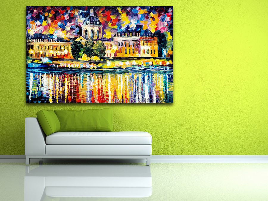 UK France Cityscape Architecture Palette Knife Painting Picture ...