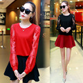 Alibaba expressar Europa 2016 nova primavera Outono Coreano plus size mulheres patchwork manga longa sexy Lace Chiffon 2 peça set vestido