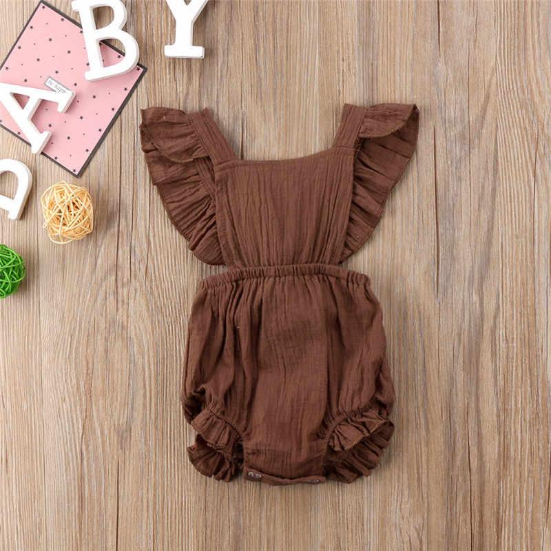 2018 Nieuwe Hot Retro Leuke Kids Baby Meisjes Ruches Backless Romper Jumpsuit Pasgeboren Zomer Peuter Casual Kleding Outfit 3 Kleuren
