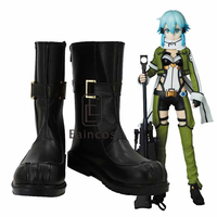 Anime Sword Art Online 2 Phantom Bullet Asada Shino/Sinon Boots Cosplay Party Shoes Custom made