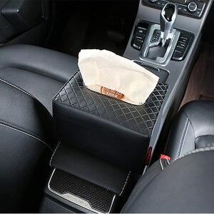 Image 5 - Car Armrest box tissue box Creative holder Leather seat back hanging pater towel case Storage bag for car interior accessores