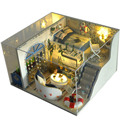 DIY 3D Kit Modelo de Casa De Bonecas Em Miniatura De Madeira Sala de Jantar Com Tampa E LED Mobiliário Artesanato Em Miniatura de Cozinha Casa de Bonecas