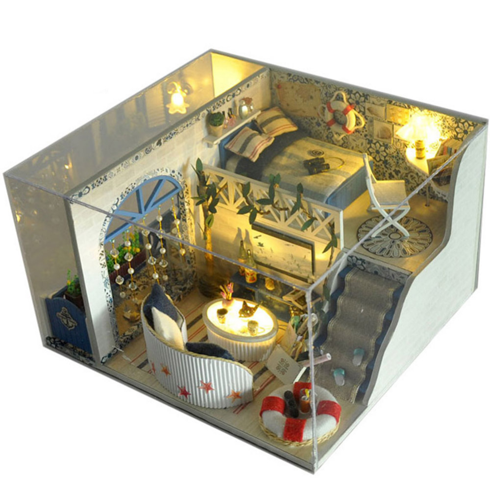 DIY 3D Wooden Dollhouse Miniature Dining Room Model Kit With Cover And LED Furnitures Handcraft Miniature Kitchen Doll House