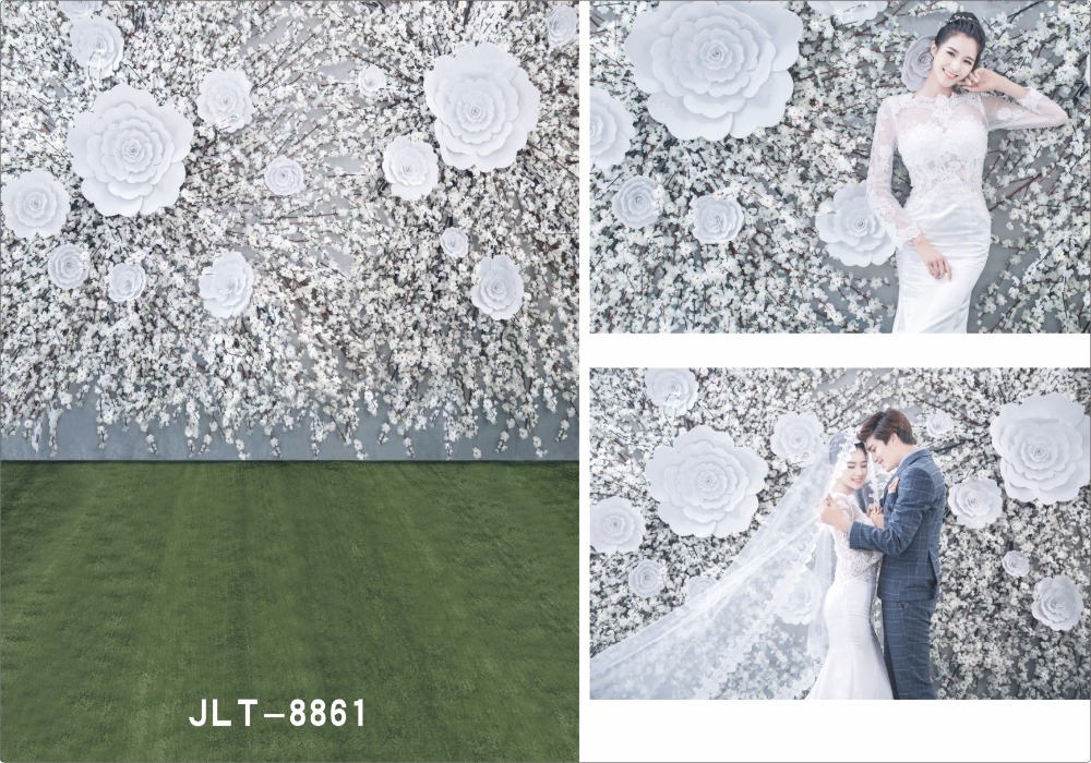 Top sale 5x7FT White flowers Photography Background For Studio Photo Props Green Wall Floor vinyl Photographic Backdrops cloth new promotion newborn photographic background christmas vinyl photography backdrops 200cm 300cm photo studio props for baby l823