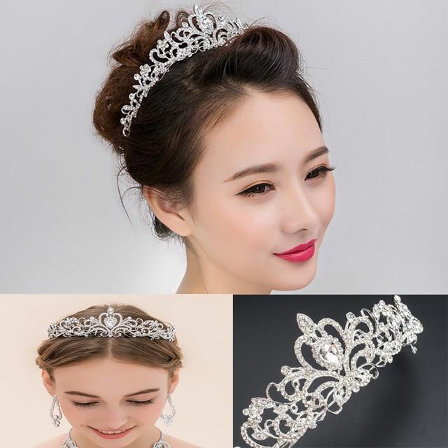 Royal Princess Prom Bridal Pageant Veil Tiara Crown Silver Color Rhinestone  Crystal Headband Tiara Crown 6ed40307560