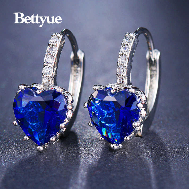 Bettyue Brand Fashion Cute Wholesale High Quality Zircon Multicolor Elegant Hearts Shape Jewelry Earrings For Woman Party Gifts