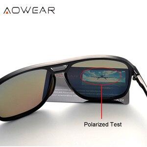 Image 3 - AOWEAR lunettes de soleil rétro carrées pour hommes, verres miroirs polarisés, pour la conduite, pour lextérieur, haute définition, élégantes, bleues, Oculos