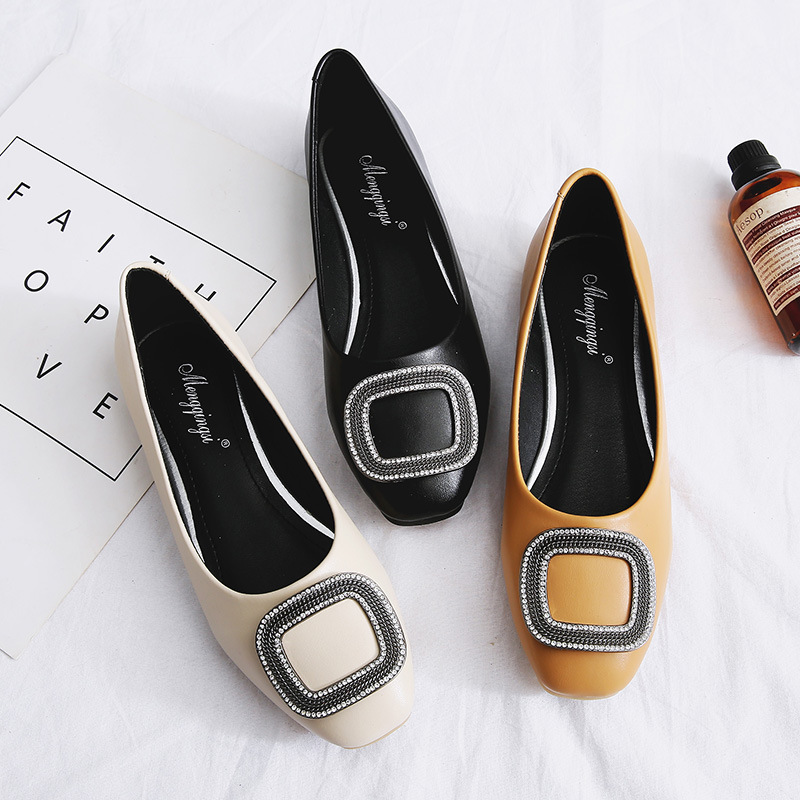 Mocassins Confortables apricot Chaussures Dames Métal Femme Ballerines Black Bout Lumière En Grande yellow Taille Front Boucle Carré Abricot Strass dUq6wYqB