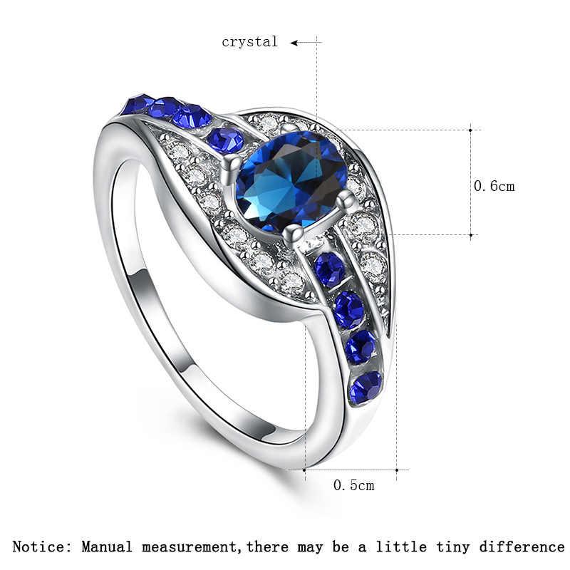 QCOOLJLY ที่ไม่ซ้ำกันหญิงสีฟ้ารูปไข่แหวนแฟชั่นเครื่องประดับสีขาวทองแหวนแต่งงาน Vintage วันเกิดของขวัญเครื่องประดับ