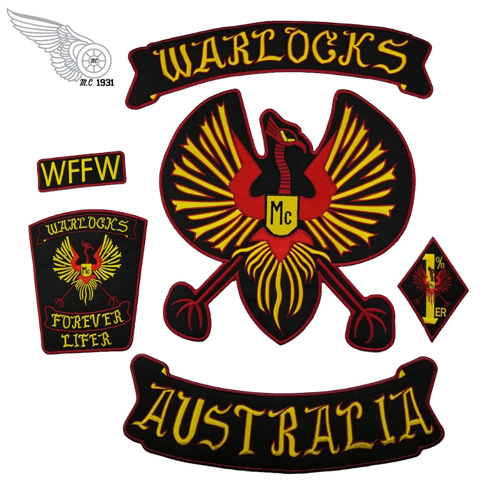 G0434 NEW ARRIVAL WARLOCKS Motorcycle Patch 1% Biker Rider Vest MC Embroidered Patch (1)