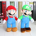 New High Quality 25cm Super Mario Bros Stand MARIO LUIGI Plush Toys Stuffed Toy Doll