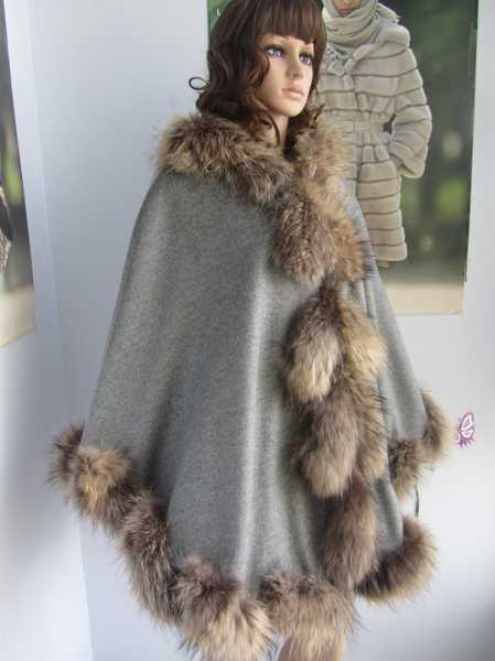 New arrival free shipping real raccoon fur trim detachable hood cashmere shawl for women