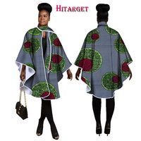 2017 Hitarget Autumn African Women Traditional Top Dashiki Print Wax Elegant Riche Trench Coat Africa Clothes for Ladies WY1190