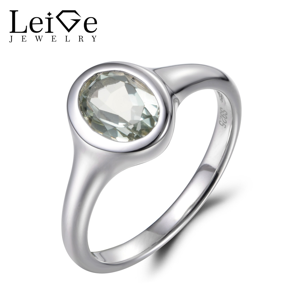 купить Leige Jewelry Cocktail Party Ring Natural Green Amethyst Ring Solid 925 Sterling Silver Oval Cut Gemstone Wedding Gifts for Lady по цене 6051.78 рублей