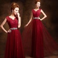 2016 Elegant Long Beautiful V Neck Formal Mother Of The Bride Dubai Kaftan Red Wine