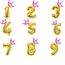 40 inch Gold Number figure foil Balloons 1 2 3 4 5 6 7 8 9 Years old kid boys girls Birthday Crown Foil Balloon Decoration favor