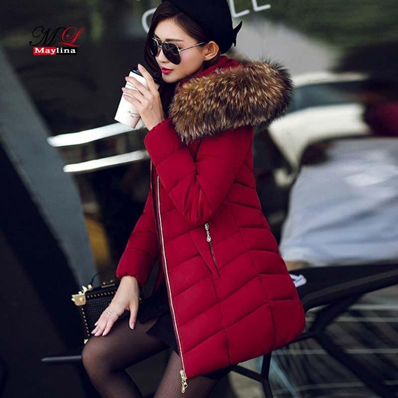 MLinina Women Winter Jacket 2018 New Warm   Parkas   Female Overcoat Outerwear Hooded Cotton Coat plus size Long Thick   Parka