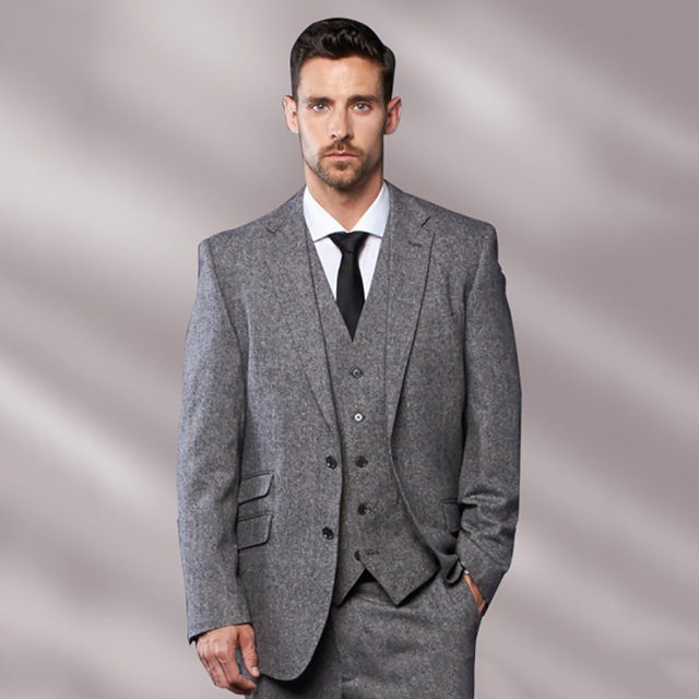 ae80f13328db4 Custom Grey Tweed Men Suits Fall Winter Classic Formal Wedding Suits For Men  3 Piece Men Suits With Pants Tuxedo Terno Masculino