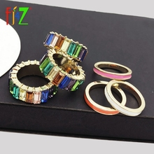 F.J4Z Fashion Designer Luxury Finger Ring for Women Imitation Colorful Crystal Rings Jewelry anillos de mujeres