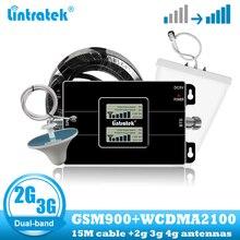 Lintratek 2G GSM 900 3G 2100 telefon komórkowy dwuzakresowy wzmacniacz sygnału wzmacniacz komórkowy WCDMA UMTS wzmacniacz komunikacji internetowej