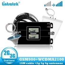 Lintratek amplificador de señal de banda dual para teléfono móvil, repetidor celular 2G GSM 900 3G 2100, WCDMA UMTS, amplificador de comunicación de internet