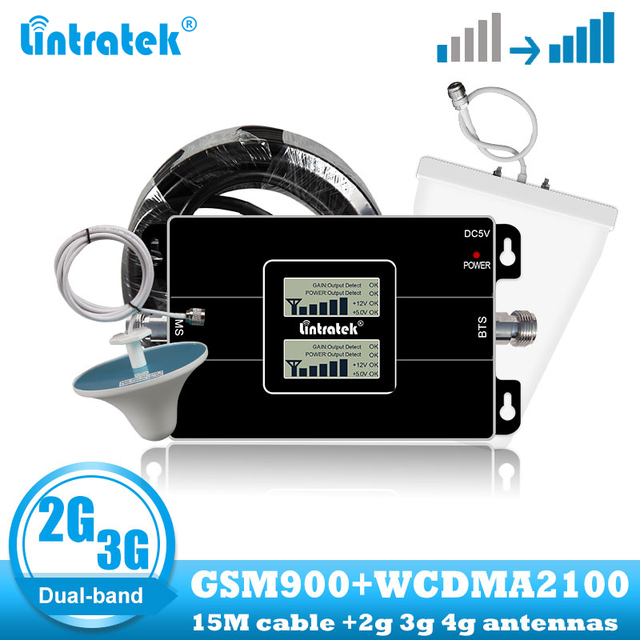 lintratek 2G GSM 900 3G 2100 Cell phone dual band Signal booster Cellular repeater WCDMA UMTS  internet communication amplifier