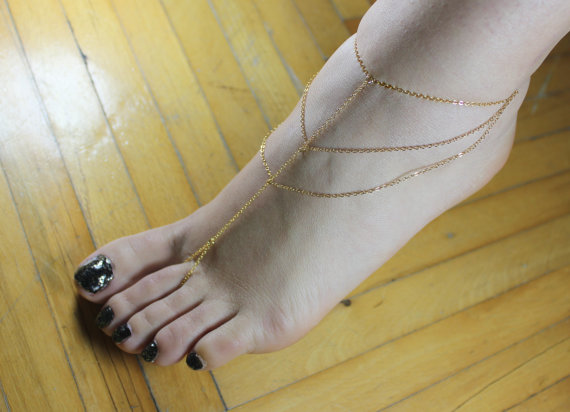 Gold Slave Anklet Barefoot Sandal Beach Style