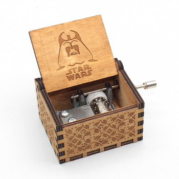 Star Wars Music Box Antique Carved Wooden Hand Crank Christmas Birthday Gift caixa de madeira decorativa vintage