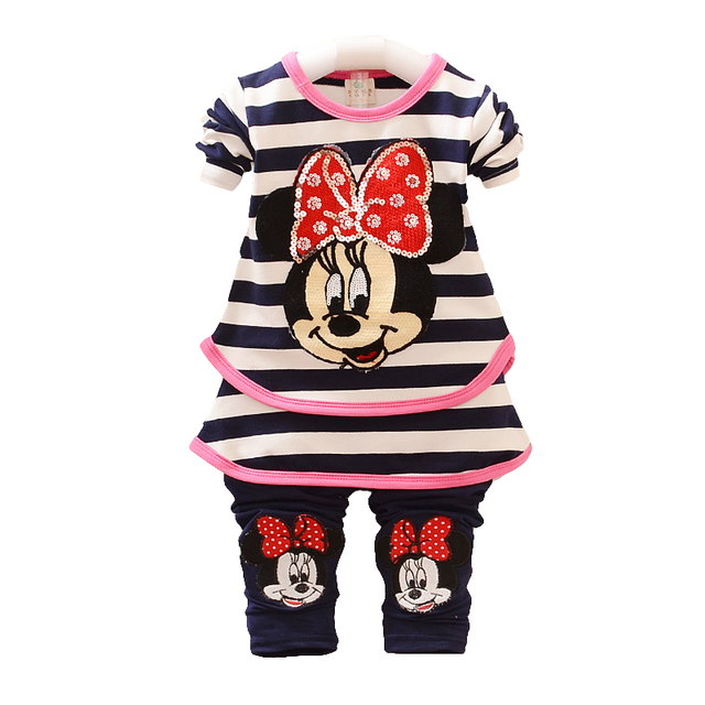 Girls Clothes Kids T-shirt Legging Pants 2pcs Sport Suit Toddler Girl Clothing Suit baby Girl Suit strpied Children Sets pink