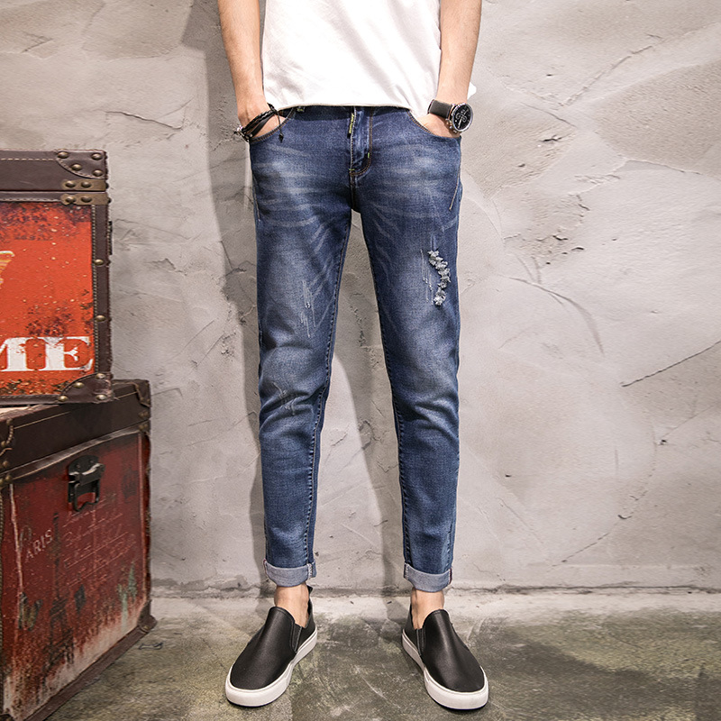 Brand Ankle-Length Cuffs Hole Jeans Men Plus Size Blue Pencil Denim Pants Male Trousers Size 38 40 42 2017 Men Clothes RMP175008 xmy3dwx n ew blue jeans men straight denim jeans trousers plus size 28 38 high quality cotton brand male leisure jean pants