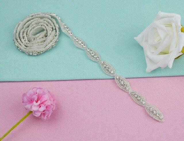1 Yard Handmade Clear Crystal Rhinestone Applique Iron-On Hot-Fix Sewing  Crafts For Wedding Dress Bridal Sash Belt 50dbea84514d