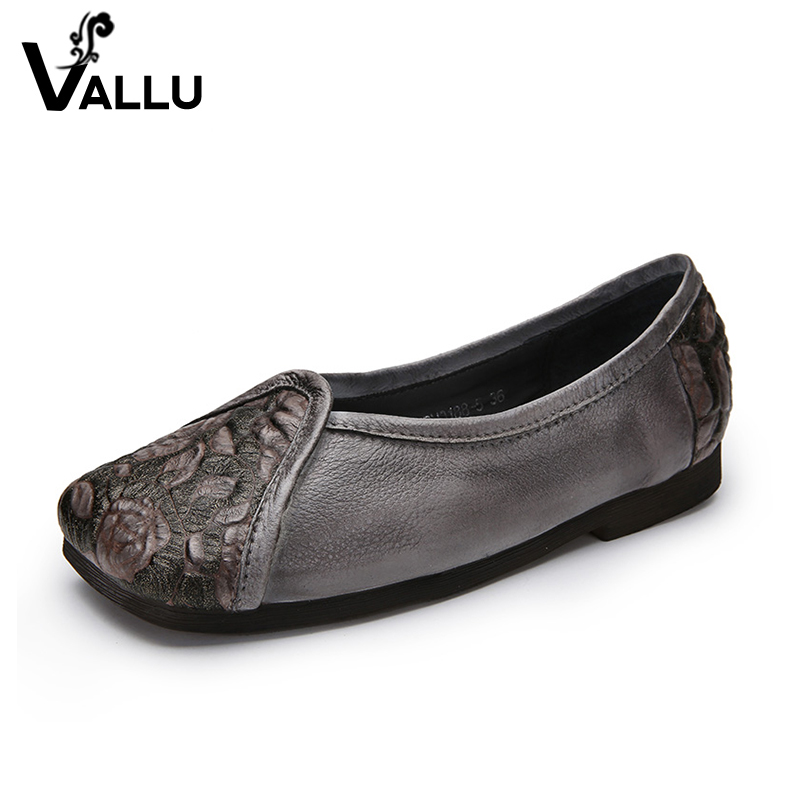 Embossed Elegant Women Flat Shoes 2018 Summer Flats Ladies Cow Leather Super Soft Flower Retro Casual Square Toe Female Shoes qmn women genuine leather flats women croc embossed cow leather oxfords retro square toe brogue shoes woman platform flats