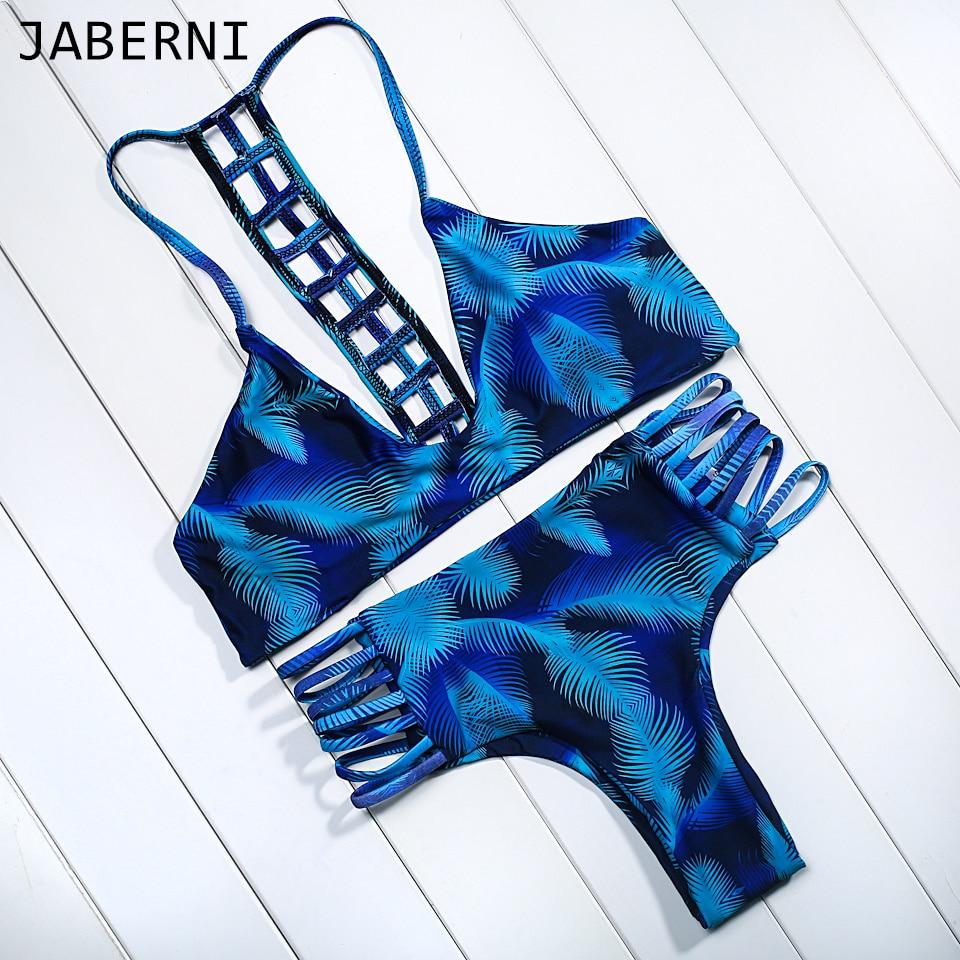 ФОТО JABERNI sexy women bikini set print swimsuit halter swimwear backless bathing suit hollow out bathing suit