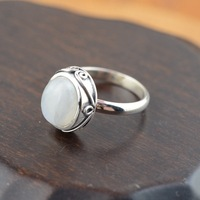 925 sterling silver inlaid natural Moonstone Ring Blue luster moonlight concise package import Woman's silver ring