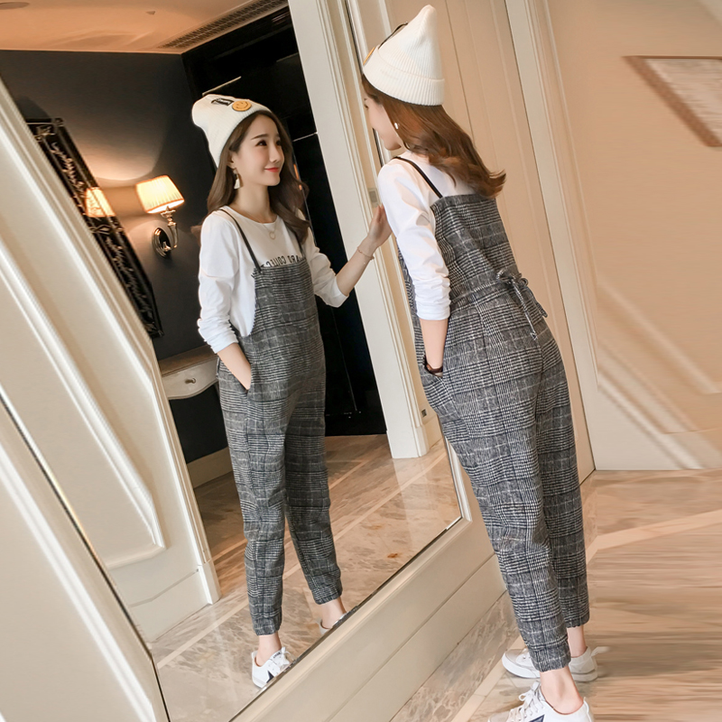 2018 spring maternity plaid overalls bib pants pregnancy jumpsuits clothes for pregnant women loose fit pregnant trousers pants 2017 autumn maternity bib pants pregnant trousers belt plus clothes for fat women pregnant overalls jumpsuit solid women