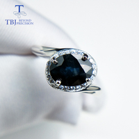 TBJ, Natural Australian blue Sapphire oval cut 6*8mm 1.4ct gemstone Ring ,simple Comfortable Finger Ring in 925 sterling silver
