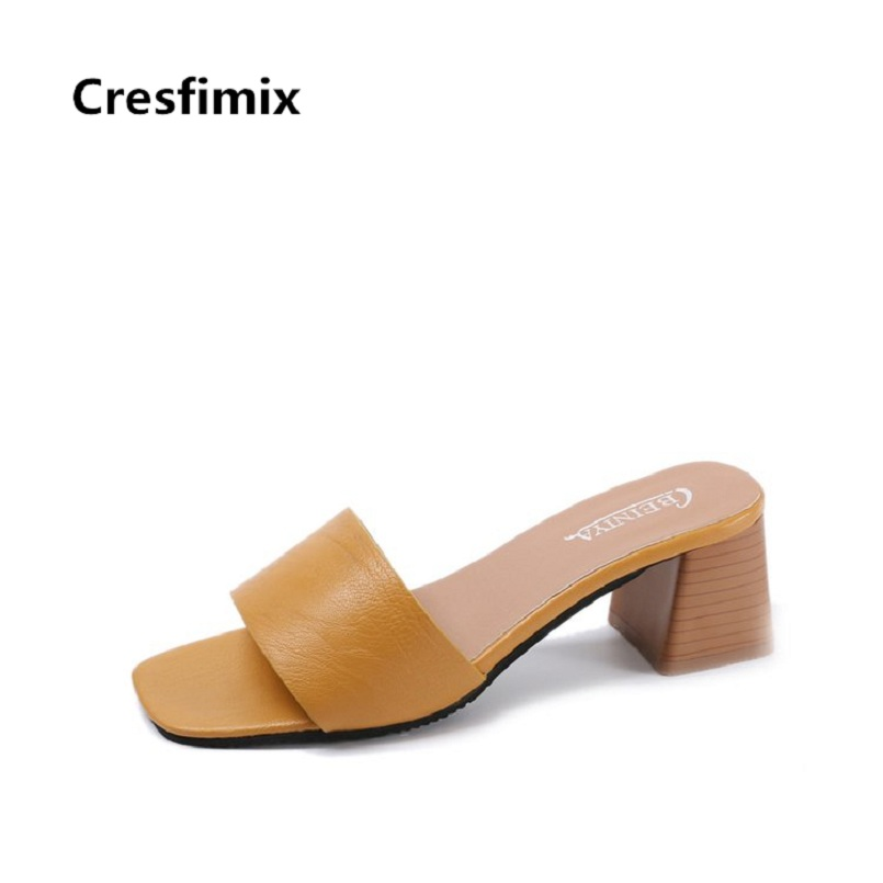 Cresfimix Women Comfortable Spring High Quality Pu Leather High Heel Sandals Lady Fashion 2018 Summer Yellow Sandals B2348