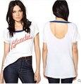 Mujeres camiseta de verano blondie letras impresas halter golpeó costuras de color D326 manga corta señora camiseta de algodón