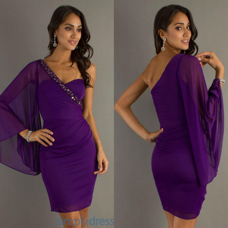 Purple Cocktail Dress Short Flowy Dresses Homecoming Gown