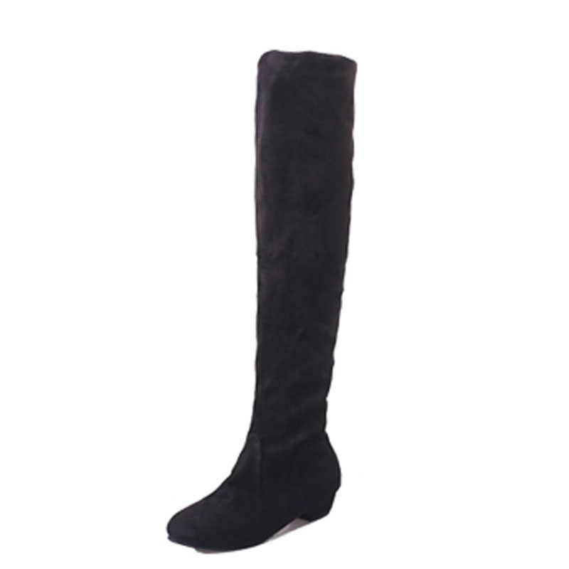 Boyutu 34-43 Kadın Botları Kış Sonbahar Moda Düz Alt Çizmeler Ayakkabı Diz Yüksek Bacak Süet Uzun çizmeler Marka Tasarımcısı