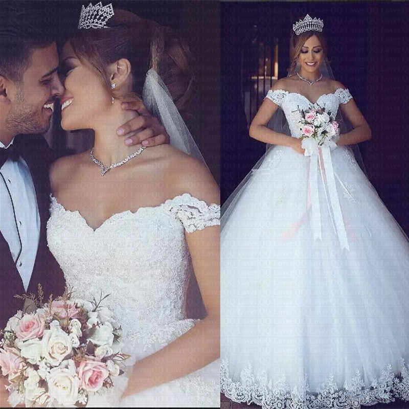 2019 белый или цвета слоновой кости кружево аппликации недорогое бальное платье Vestido De Novia с открытыми плечами Рубашка короткими рукавами свадебное платье