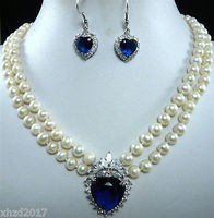 Nobility Quartz crystal charming 2 row white pearl & blue zircon pendant earring set marvel choker for women collares kolye