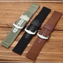 лучшая цена 18mm 20mm 22mm 24mm High Quality Nylon + Leather Watch Band Wrist Strap Watchband Wristwatch Black Brwon Green for Man Woman