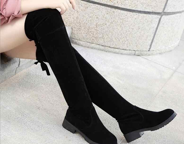 ฤดูใบไม้ร่วงผู้หญิงฤดูหนาวรองเท้ายืดต้นขาสูงรองเท้าแฟชั่นเข่ารองเท้า Wedges รองเท้าผู้หญิงรองเท้า