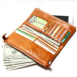 Image 4 - Women Wallets Genuine Leather  Medium Long Organizer Wallet Oil Wax Cowhide Hasp Vintage Lady Clutch Carteira Feminina Purse