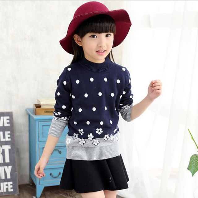 2017 new Winter 4-15Y Wool Long Sleeve Cute Girl Sweater Baby Girl Lotita Tops Child Clothing for Children Fashion Clothes Kids