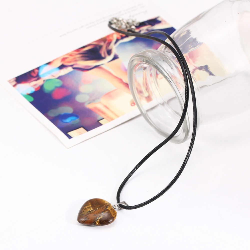 Màu hồng Tím Tiger Eye Đá Tự Nhiên Tim Mặt Dây Dây Chuyền Bạc Quyến Rũ Màu Black Leather Rope Chain Nữ Jewelry