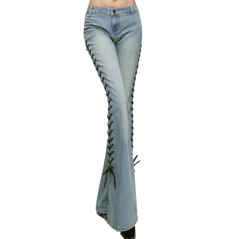 moruancle 2017 new womens ripped wide leg jeans pants distressed flare denim trousers with holes high waist boot cut size s xxl MORUANCLE New Womens Wide Leg Jeans Fashion Flare Denim Pants Boot Cut Jean Tousers For Woman Side Lace Up Bell Bottom